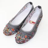 包邮绣花串珠女布鞋格格鞋红色单鞋圆头坡跟春鞋民族风小花园033