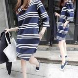 韩国孕妇装春装上衣2016条纹长袖大码纯棉中长款夏季连衣裙春秋款