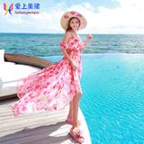 夏韩国露肩海边沙滩裙吊带波西米亚长裙修身印花雪纺连衣裙显瘦仙
