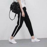 新款一条杠小学初中高中男女学生校服裤薄款透气蓝色黑色运动裤