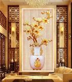 玄关走廊过道壁纸 客厅餐厅3d立体竖版背景墙纸壁画中式 玉兰雕福