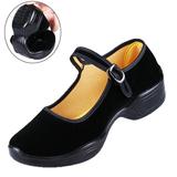 老北京坡跟黑布鞋女鞋中跟拉带广场舞鞋现代舞蹈鞋软底妈妈布鞋夏