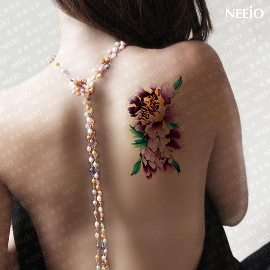 neeio纹身贴 紫牡丹 背部/腿部 疤痕贴 纹身贴纸 防水 女 单枚图商品