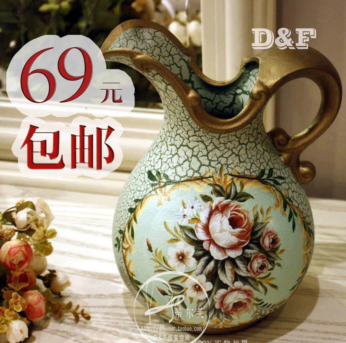 欧式陶瓷花瓶 手绘陶器花瓶田园花器 美式乡村插花瓶装饰品商品图片图片