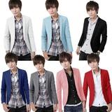 秋季英伦男士小西装韩版修身薄款男版西服上衣蓝色青年休闲外套潮
