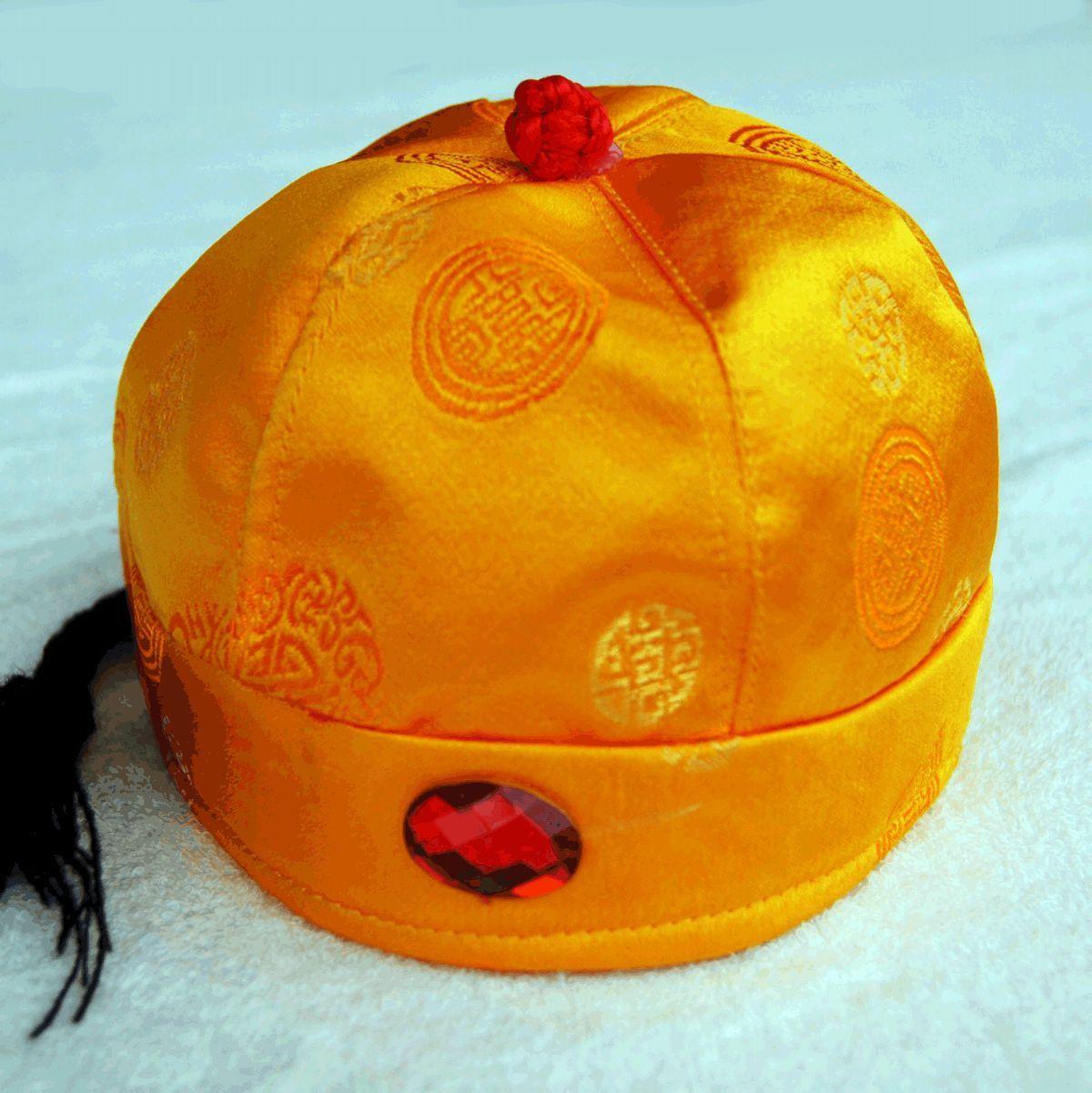 唐人童装 唐装瓜皮帽阿哥帽太子帽儿童唐装皇帝帽 金黄商品图片价格