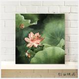 中式客厅装饰无框画现代客厅荷花挂画玄关餐厅壁画工笔油画布画