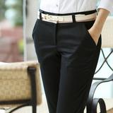 快鱼版女装2016春夏新款职业修身西装裤欧洲站蘑菇街潮休闲小脚裤