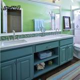 北欧宜家大理石双盆浴室柜组合现代卫浴柜橡木洗脸盆柜落地洗漱台
