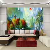 欧式墙纸大型壁画风景油画无缝无纺布美式田园客厅电视背景墙壁纸