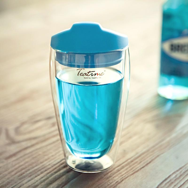 teatime安迪双层防烫玻璃杯 创意硅胶直饮盖透明饮料果汁茶水杯子商品图片