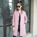 韩版呢子外套女中长款修身2016薄呢双面羊绒大衣高端羊毛棒球服冬