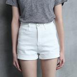 致美森夏季新款韩版紧身显瘦A字弹力白色高腰牛仔短裤女卷边热裤