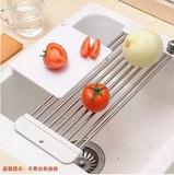 日本DAISO KM可伸缩不锈钢沥水架厨房水槽沥水板碗架置物层架托盘