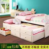 联合实木家具松木儿童床双层组合床男女孩白色带抽屉拖床包邮安装