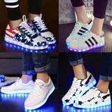 情侣发光鞋男女款七彩闪光灯usb充电夜光板鞋学生荧光鞋led鞋子白