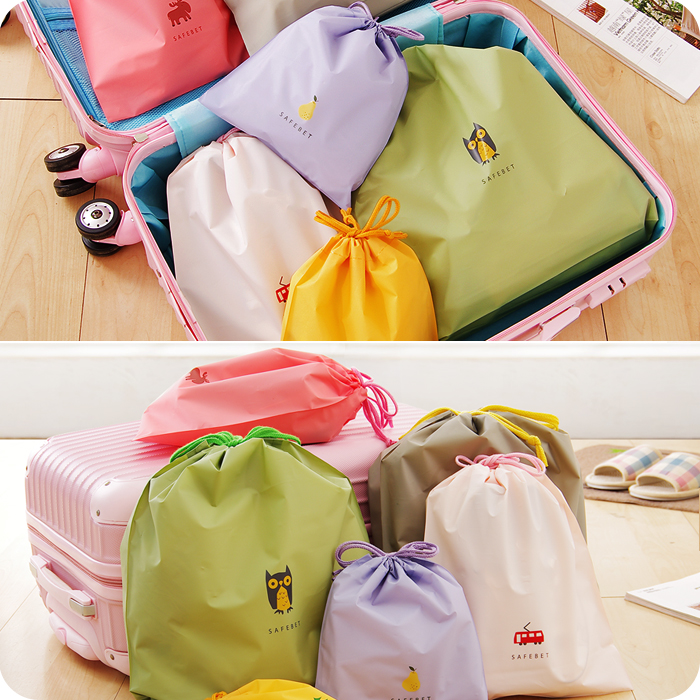 卡通抽绳束口袋旅行收纳袋 行李箱衣服收纳整理袋 防水衣物分装袋商品图片