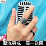 韩版个性时尚钛钢男士戒指朋克食指霸气复古欧美指环戒指男哈雷款