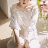 代购韩国2016夏季新款小清新蕾丝花边一字领露肩棉麻连衣裙夏季