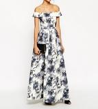 16新款高端印花太空棉大裙摆低一字领高腰连衣长裙年会礼服裙超长