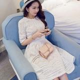 2016春夏女装韩版新款五分袖镂空拼接中长款蕾丝连衣裙女A字长裙