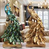 欧式奢华复古创意树脂工艺孔雀电视柜摆件现代家居装饰品结婚礼品