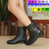 特价风靡韩国仿皮中筒秋冬季可加绒雨鞋女水鞋雨鞋雨靴女侧扣套鞋