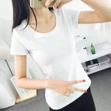 春夏装纯棉修身短袖t恤女白色打底衫女百搭半袖上衣体恤韩国衣服