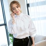 2016立领白衬衫春秋女韩国灯笼袖打底泡泡长袖纯棉中长款宽松衬衣