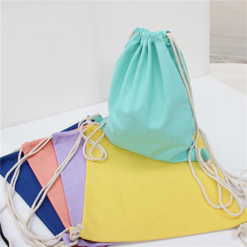 爆款双肩抽绳帆布背包纯棉空白纯色手绘女包糖果色旅行收纳包冲冠商品图片