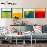 墙蛙四季 北欧客厅装饰画美式沙发背景墙挂画抽象创意艺术油画AD3