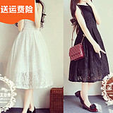 白色蕾丝连衣裙夏小清新背心中长款裙子学生甜美可爱仙女裙蓬蓬裙