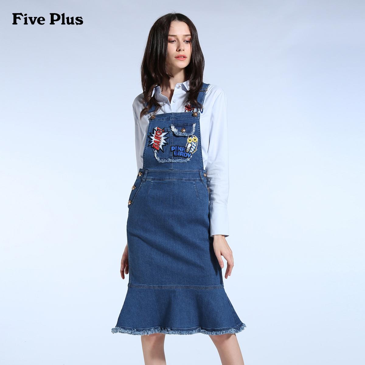 five plus新女装棉质刺绣图案流苏牛仔背带连衣裙2hm1085570商品图片图片