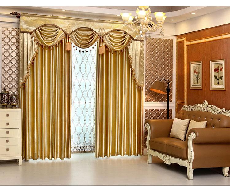 遮光窗帘布窗纱 飘窗 水波帘头 欧式窗幔 幔头帘头成品 客厅定制商品图片