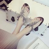 香港代购夏季新款平底女拖鞋沙滩夹趾女鞋百搭枫叶花朵平跟女鞋潮
