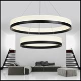 创意led餐厅灯现代简约黑色别墅三层双层圆环形个性客厅大厅吊灯