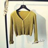 韩国春季女装开衫V领针织衫女外套长袖修身短款显瘦女外搭薄毛衣