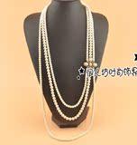 韩版小香风多层珍珠长款毛衣链 三层珍珠项链 花朵装饰链百搭时尚