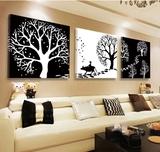 现代装饰画欧式客厅背景墙壁画 卧室黑白挂画餐厅抽象墙画发财树