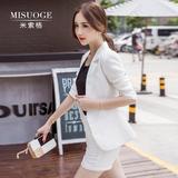 2016夏季新款韩版女装职业时尚气质修身棉麻小西装短裤套装两件套