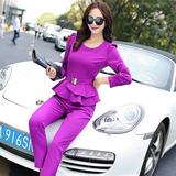 2016春装新款韩版修身荷叶边公主气质长袖长裤休闲时尚两件套装女