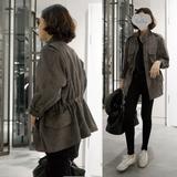 韩国春秋女装新款短款鹿皮绒风衣外套工装学生上衣夹克潮宽松韩版