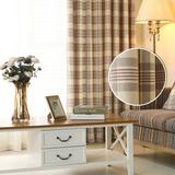 美式棉麻格子客厅定制成品布料现代简约卧室落地窗帘北欧风*红