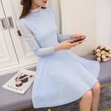 2016春装新款女装韩版小香风长袖修身显瘦中长款蕾丝连衣裙打底裙