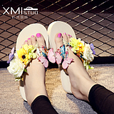 大码人字拖女夏季防滑平底花朵沙滩鞋时尚夹脚坡跟厚底可爱凉拖鞋