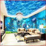 海底世界3d立体墙纸 无缝大型壁画海豚海洋卡通儿童房背景墙壁纸