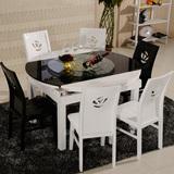 餐桌椅钢化玻璃餐桌多功能桌椅组合伸缩餐台白色桌火锅电磁炉圆桌
