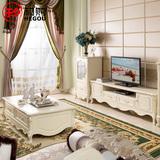和购欧式成套家具 卧室客厅象牙白法式田园茶几电视柜组合套装855