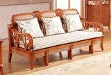 藤沙发床 多功能实木沙发床藤推拉床两用组合 可折叠伸缩