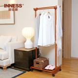 英尼斯原装进口实木衣服架子简易家用卧室多功能双杆落地式挂衣架